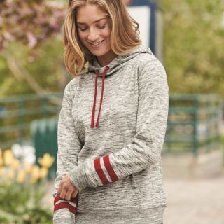 Women's Melange Fleece Striped Sleeve Hooded Pullover Thumbnail